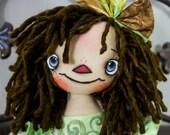 Primitive Raggedy Ann Handmade Cloth Doll- Ella Annie HAFAIR