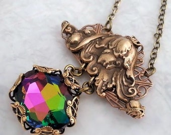 Titania necklace, Art Nouveau necklace,  Midsummer Nights Dream statement necklace, vitrail Swarovski necklace, fantasy fairytale necklace