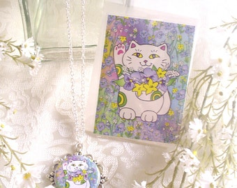 Spring Bouquet Neko Lucky Cat Pendant with Matching ACEO Print / Mini Greeting Card