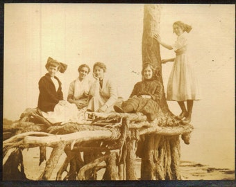 Antique SEPIA Photo Girls Play At the Shore EARLY 1900s