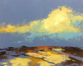 AS ABOVE, oil landscape painting original 100% charity donation, 8X10 canvas  panel, clouds, field