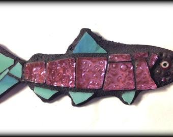 Small Mosaic Wall Hanging Purple Fish Miniature Art
