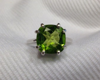 Square Cut Peridot Sterling Silver Ring