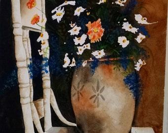 Flower Urn Vase & Chair Watercolor Painting