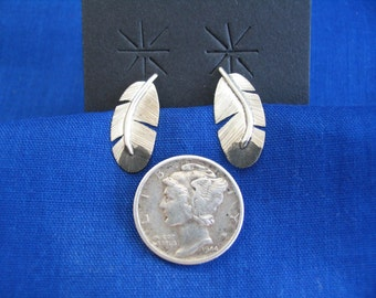 Silver Eagle Body Feather post earrings