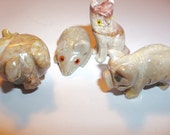 4 Carved Soapstone Animals Fetish Totem 2 Pig Cat Mouse