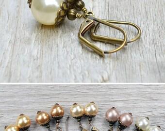 Pearl Earrings Swarovski Pearl Antiqued Brass Filigree Vintage Style Gift Under 20 Wedding Jewelry