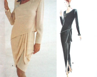 UNCUT Linda & Tom Platt Draped Skirt Dress Bust 31.5 -34
