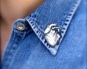 Anatomical Heart Tiny Pin - Anatomical Heart Pin - Anatomical Heart Jewelry - Halloween Jewelry - Shrink Plastic - Anatomical - Heart -
