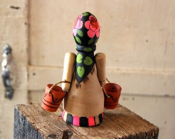 Carved Turned Wooden Souvenir - Russian - USSR - Figurine - Doll - Girl - Woman - Peasant - Wood Burned Painted - Folk Style - Ethnic Dress