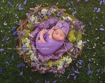 Alice Bonnet - Newborn Photo Prop - photo prop, baby bonnet, knit, lace bonnet