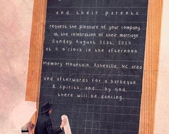 Printable save the date,Printable wedding invitation, Fun save the date,Custom Wedding chalkboard, Customizable invitation