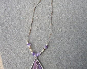 Purple and Silver Necklace With Heart Pendant