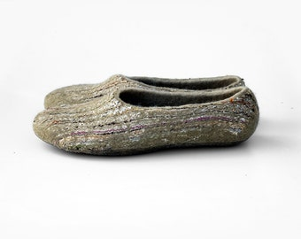 Felted slippers Gray slippers Sand slippers Women home shoes  Natural wool Handmade design
