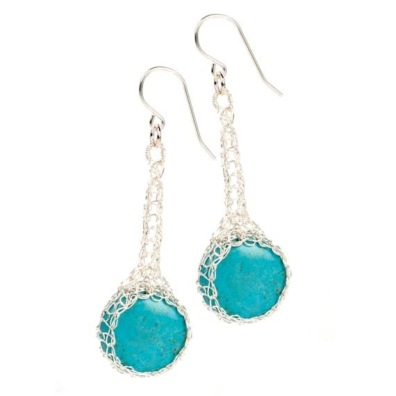 Turquoise Earrings, mint green in crocheted silver wire, dangle earrings jewelry