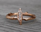 Diamond Twig & Leaf Engagement Ring: White, Yellow, or Rose Gold; 14k or 18k