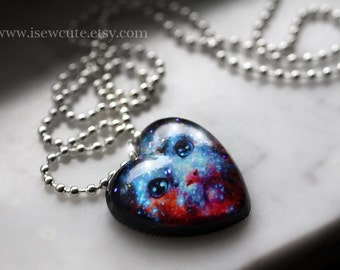 Galaxy Cat Necklace - Cosmic Space Kitten Necklace - Pet Portrait Heart Pendant - Galaxy Print Jewelry, Nebula Necklace Handmade by isewcute