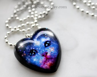 Kitten Galaxy Necklace - Cosmic Galaxy Cat Necklace - Galaxy Print Jewelry, Heart Pendant Pet Portrait, Nebula Necklace Handmade by isewcute