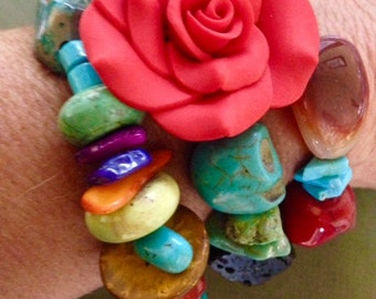Day of the Dead Moroccan Tribal Turquoise Africian Trade Bead Bracelet