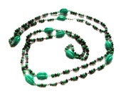 SALE! 1920s Necklace, Green Art Deco Sautoir, Celluloid and Glass Beads