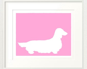 Mod Longhaired Dachshund - 8x10 Fine Art Silhouette Dog Print in your choice of color