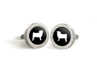Pug Silhouette Cufflinks for Him - Mod Dog Custom Tuxedo Cuff Links in your choice of color