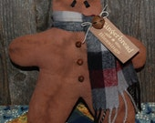 Primitive Gingerbread Man Pillow Tuck Christmas Bowl Filler