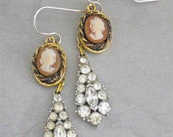 Edwardian Cameo Rhinestone Earrings