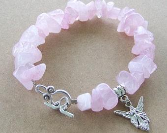 Chunky Rose Quartz Gemstone Silver Fairy Bracelet
