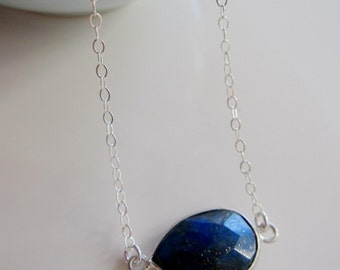 Lapis Blue Necklace, Blue Gemstone, Sterling Silver necklace, Cobalt Blue Bridal Necklace