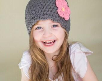 9 Sizes Elephant Gray Girl Hat Baby Hat Baby Girl Hat Toddler Hat Toddler Girl Hat Womens Hat Crochet Flower Hat Flapper Beanie 30 Flowers