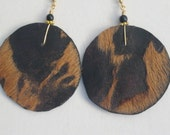 Hair on Leather Disk Earrings - Brown and Black with Black accents. 14kt Goldfilled  earwires