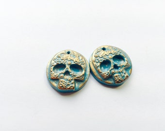 Turquoise and Bronze Skull Handmade Polymer Clay Focal Beads
