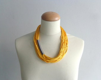 Yellow black necklace, multi strand necklace