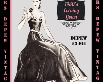 Vintage Sewing Pattern 1930's Evening or Wedding Gown in Any Size Depew 3464 - PLUS Size Included -INSTANT DOWNLOAD-