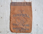 vintage c. 1920s International Chain & Mfg. Co. Campbell Tire Chains fabric pouch or sack, advertising