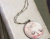 Little Moon necklace - moon jewelry, full moon accessory, quirky jewelry, unique - by Meluseena