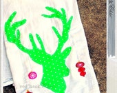 red.neck Chic: DRY IT. oh DEER Christmas dish towel / hand towel / kitchen towel / tea towel / Christmas decorations / Deer with ornaments