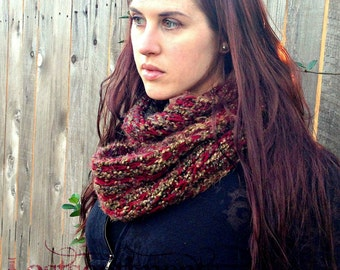 Long and Soft Chunky Knit Scarf - Fall Colors and Burgundy Accent by lostsentiments