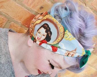 Retro/Rockabilly/Vintage/Pinup styled head scarf/bandana/dolly bow! Cotton, cute bow, reversible! ALEXANDER HENRY Las senoritas fabric