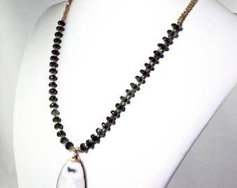 Rare Moldavite Necklace Peacock Solar Quartz Stalactite Necklace Gemstone Necklace Statement Necklace Rare Stone Necklace MDV-N-002-MSQ-001