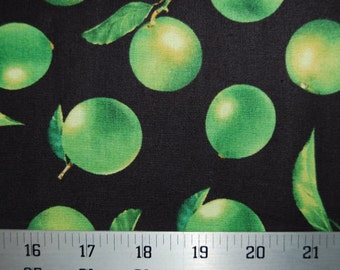 Limes Fruit Green Black Fresh Picked Fabric 1 yard