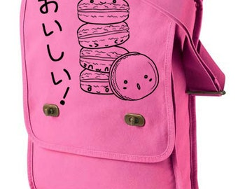 Delicious Macarons Messenger Field Bag - cute cookie bag kawaii bag decora tote cute school bag japanese kawaii tote cute food
