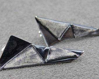 Fold Form Silver Studs