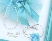 Preemie Tutu Set Matching Headband Tieback Pearl Strand Outfit Teal Turquoise Aqua Baby Girl Hospital Portrait Newborn Infant Shower Gift