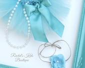 Preemie Tutu Set Matching Headband Tieback Pearl Strand Outfit Teal Turquoise Aqua Baby Girl Hospital Portrait Newborn Infant Shower Gift