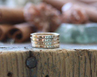 Gold Filled Personalized stackable stacking rings...hand stamped stacking rings.