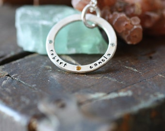 For Eternity hand forged thick sterling silver personalized eternity ring set with gem stones