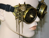STEAMPUNK tribal gypsy couture brass filigree spiked GOGGLES Antique Gold fringing chains