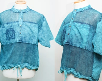 90s Vintage Men's Aqua Acid Wash Cotton Beach Shirt - Size Large
